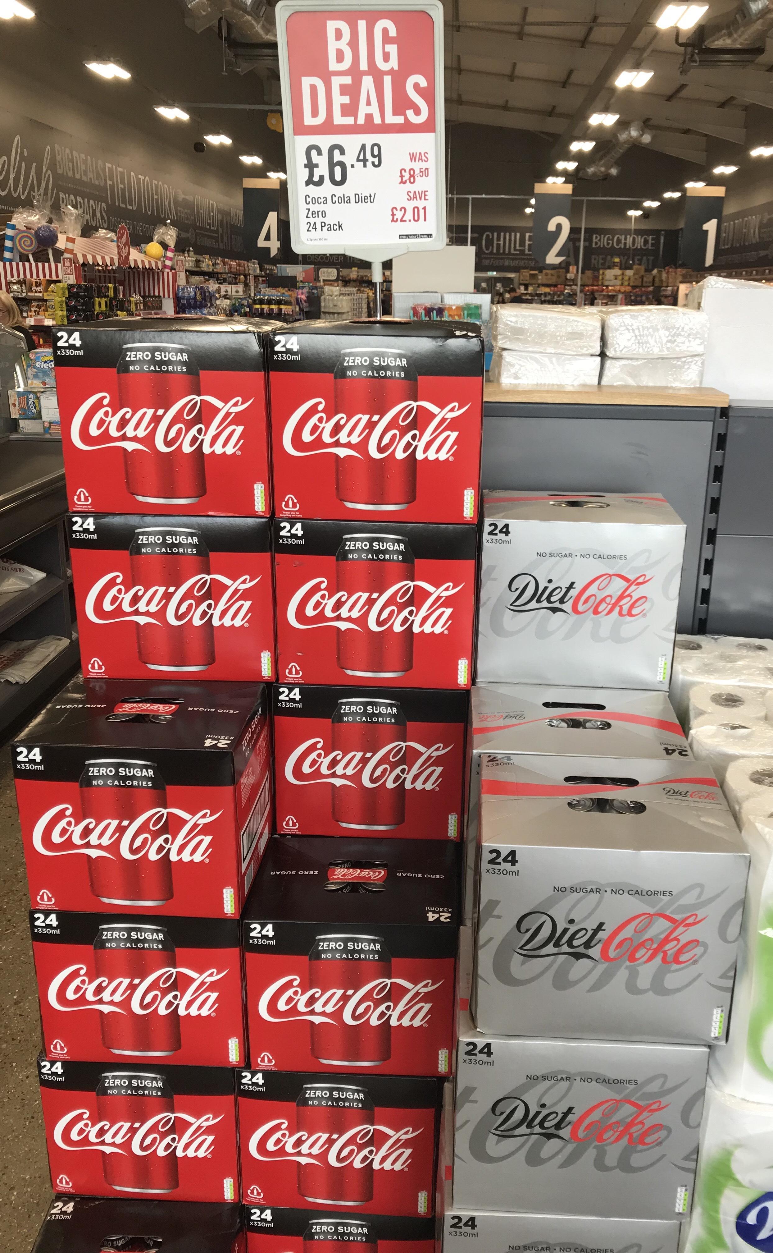 24 Pack Diet Coke or Coke Zero £6.49 at Food Warehouse