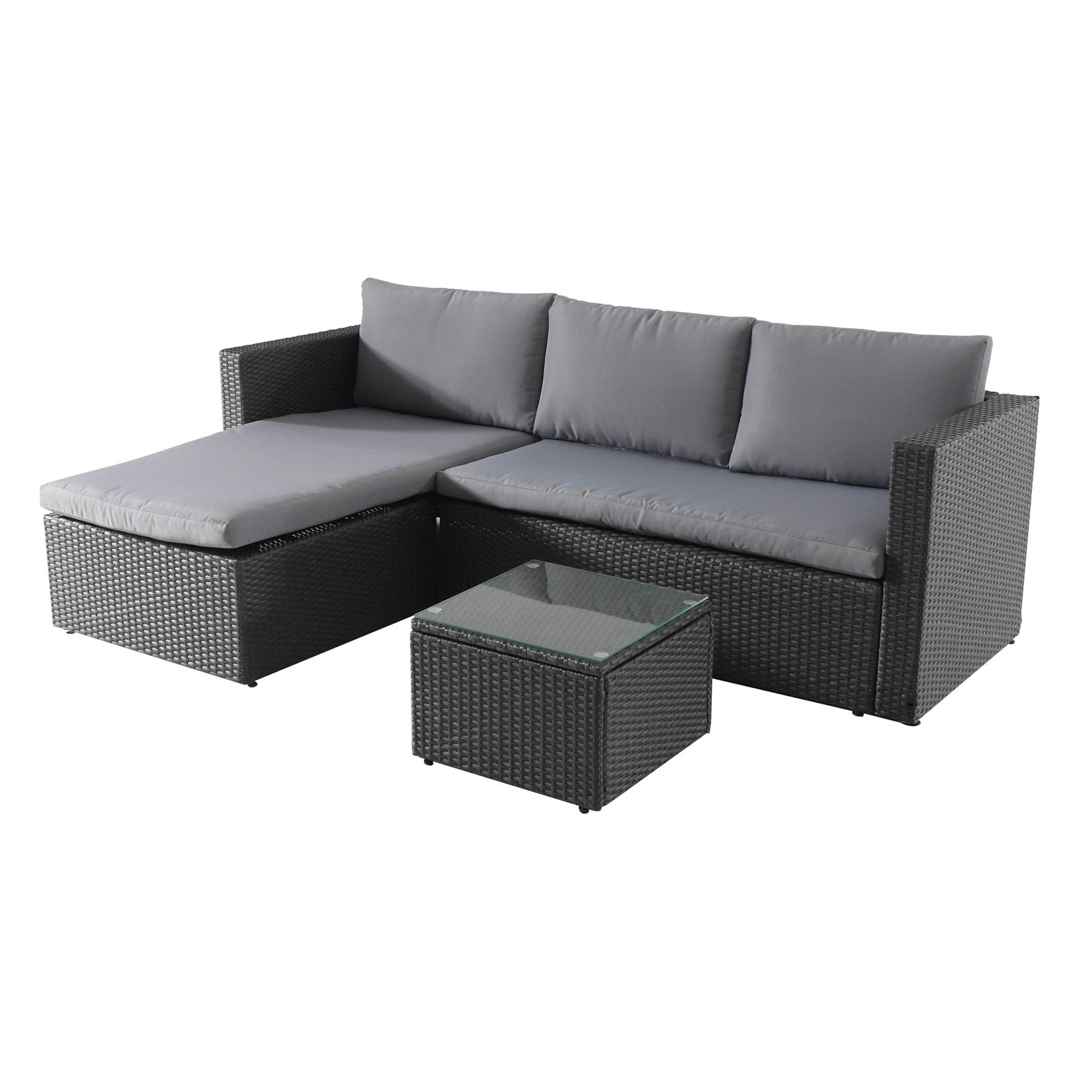 Alexandria Rattan Effect 3 Seater Dark Grey Corner Garden Sofa Set - £200 @ Homebase stock available online / free C&C