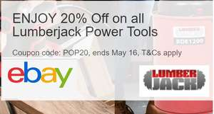 ENJOY 20% Off on all Lumberjack Power Tools Min spend £25, Max Discount £75 @ Ebay