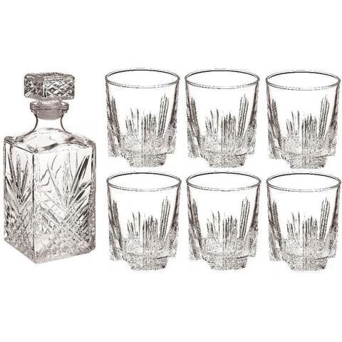 Bormioli Rocco Selecta Glass Cut Decanter/6 Glasses Set £4.99 + £2.99 p&p RINKIT.com