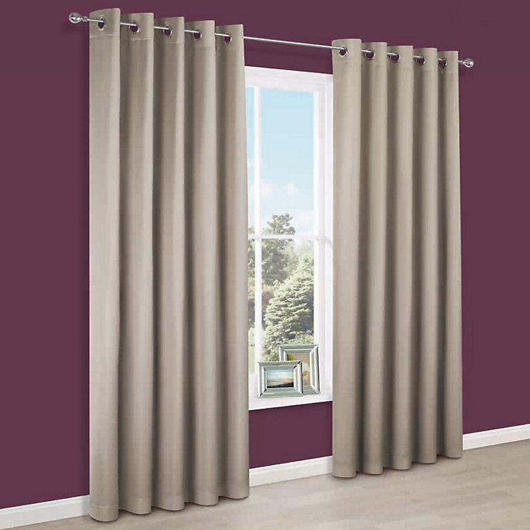 Endora Gold Plain Satin Eyelet Lined Curtains (W)117 cm (L)137 cm @ B&Q With Free C&C £11