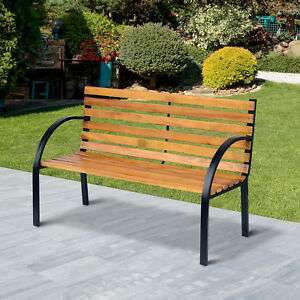 Outsunny 2 Seater Garden Bench Metal Wooden Slatted Seat Backrest Patio Chair @ Ebay Sold By Outsunny £37.59 With Code Provided
