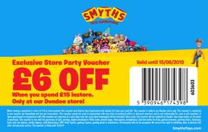 £6 off when you spend £15 in store at Smyths Dundee as part of Store Birthday Celebration Event (inc Free Face Painting + Candyfloss)