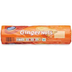 Belmont Biscuits Ginger Nuts 300g (every bit as good as, and probably better than, McVities - and about a fifth of the price!) Aldi 25p