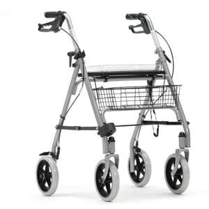 Livewell Silver Steel Rollator with Tray and Basket Walking Frame Wheeled Walker + 2 Year Warranty - £30.39 with code @  livewell-today eBay