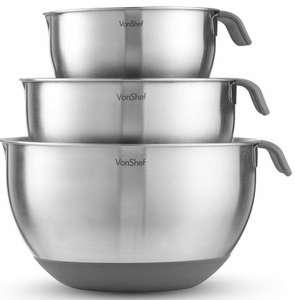 3 Piece Large Non Slip VonShef Mixing Bowl Set Stainless Steel Cooking 5 Litre + 2 Year Warranty - £14.99 delivered @ domu-uk eBay