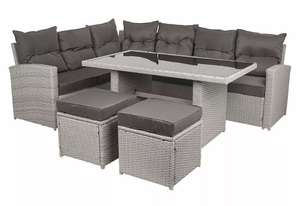Wido 5 Piece Grey Faux Rattan Sofa Set - Garden Furniture (Table, Chairs & Stools) @ Wido Ebay (with code)