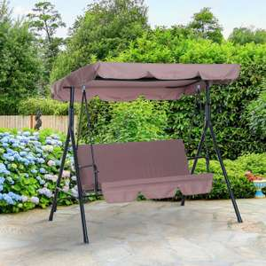Garden Hammock Swing Chair Backyard 3 Seater Adjustable Canopy Patio Outdoor - Brown - £57.99 @ 2011homcom eBay