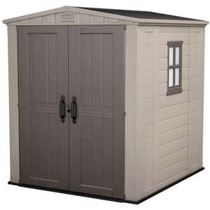 Keter Factor Outdoor Garden Plastic Storage Shed, 6x6ft - Beige/Brown - £475.15 @ Homebase