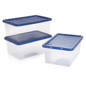 Wilko Storage Box with Blue Lid 3 x 12L - Blue/Pink £4.50 (C+C) @ Wilko