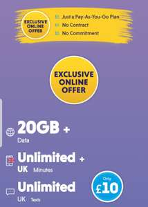 Best Sim Pay As You Go Packages - 20gb Data / Unlimited UK Calls / Unlimited UK Texts - £10 @ Vectone Mobile