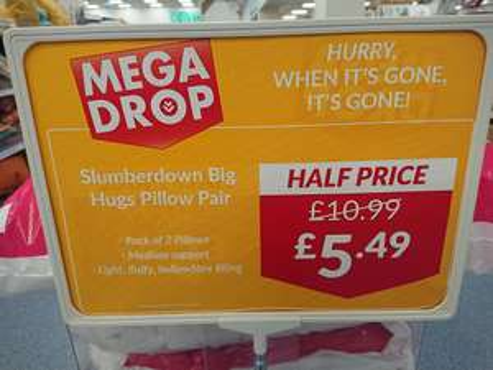 Slumberdown Big Hugs Pillow Pair - White £5.49 The Range  instore or £3.95 p&p 2 £2 c&c