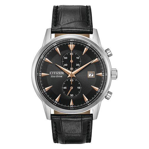CITIZEN Men's Eco-Drive Chronograph Corso Black Leather Strap Watch £94 at H.Samuel