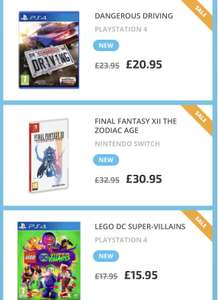 FINAL FANTASY XII THE ZODIAC AGE Switch £30.95, DANGEROUS DRIVING Ps4 £20.95, LEGO DC SUPER-VILLAINS Ps4 £15.95 @ thegamecollection
