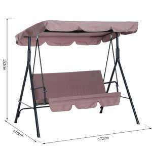 Outsunny Garden Metal Swing Chair 3 Seater Hammock Patio Canopy Bench Lounger £51.99 ebay / outsunny