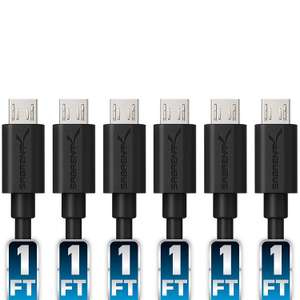 Sabrent 6 x 30cm micro USB charging cables High Speed USB 2.0 A Male to Micro B £4.45 Prime / £8.94 non Prime @ Amazon / SLJ Trading