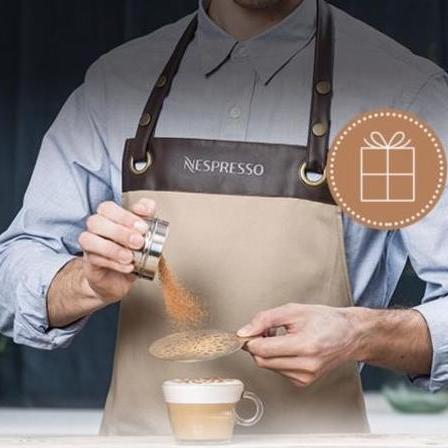 FREE BARISTA APRON AND STENCIL when you purchase 150 Original capsules @ Nespresso