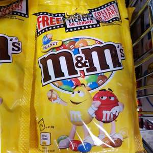 £2.45 for 625g of M&M's and a cinema ticket. Sweet Sundays promotional packs M&M's peanut pouch 125g 49p @ Home Bargains