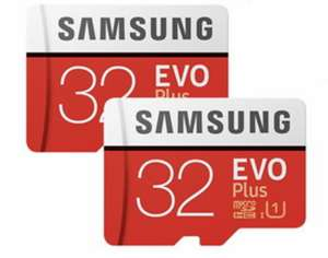 2 x Samsung Memory Evo Plus 32GB Micro SDHC Card 95MB/s UHS-I U1 Class 10 with Adapter for £7.99 Delivered @ Base