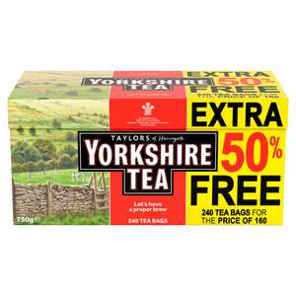 Yorkshire Tea 240 teabags (160 + 50%) £3 Instore @ Tesco