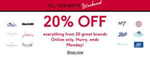 20% off Online Brands + Buy One Get One Half Price on Selected No7 @ Boots