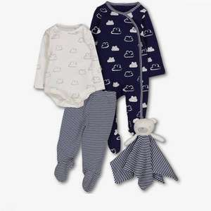 4 Piece Blue or pink Baby starter set gift: comforter, vest, trousers and sleepsuit: £7