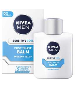 NIVEA MEN Sensitive Cooling Post Shave Balm 0% Alcohol - Pack of 6 (6 x 100ml) S&S 5% + 40% Code at Amazon £9.90 Prime / £14.39 non Prime