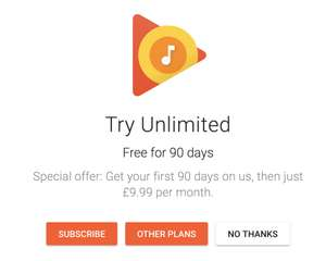 Free 3 Month Google Play Music Trial (New Customers) , Possibly Returning Customers (After 12 months)