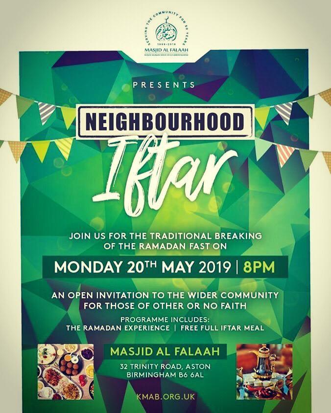 TODAY - Free Neighbourhood Iftar (dinner) - Birmingham
