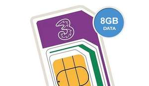 8GB 4G Data - Unlimited calls & Texts - 12 Months Sim £120 (£10 Monthly) @ Three VIA USwitch + TopCashback £45
