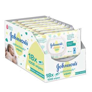 Johnson's Baby Cotton Touch Wipes - Pack of 18 Total 1008 Wipes @ Amazon £9.50 Prime £13.99 Non Prime