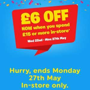 £6 off when you spend £15 or more in store @ Smyths toys  22nd-27th May