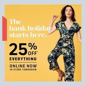 25% off full price items for the bank holiday + up to 50% sale @ Oasis