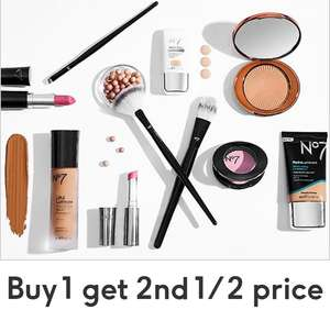 Buy 1 get 2nd 1/2 price on selected No7 skincare, cosmetics & beauty tools + Free C&C