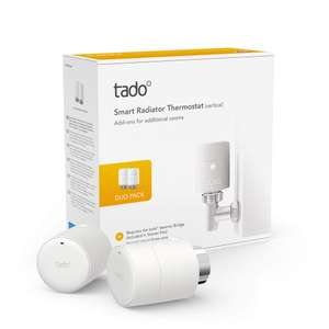 tado° Smart Radiator Thermostat (vertical mounting) - Duo Pack, Add-ons for Multi-Room Control, intelligent heating control £61.99 @ Amazon