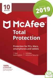 McAfee total protection 10 devices 1 year £14.99 (Prime) / £17.98 (non Prime) at Amazon