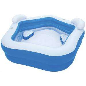Bestway 152 gallon / 575 litre family fun lounge pool 7ft wide with 2 cup holders, headrests and cushions £20 at basket @ B&Q