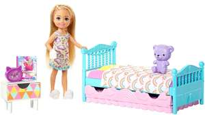 Barbie FXG83 Club Chelsea Playset with 6 Inch Blonde Doll Bedroom with Working Trundle Bed Teddy Bear @ Amazon £8.99 Prime £13.48 Non Prime