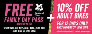 10% off new bikes + Free National Trust Family Day Pass @ Halfords