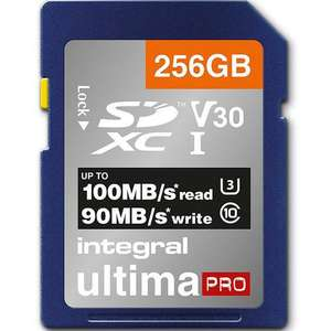Integral 256GB UltimaPRO V30 Premium SD Card (SDXC) UHS-I U3 - 100MB/ For £24.29 delivered with Code @ Mymemory