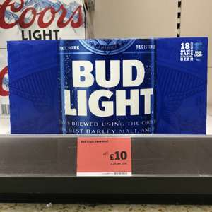Bud Light Lager Beer cans 18x440ml @ Sainsbury's - In-Store & Online, only £1.26 per litre!
