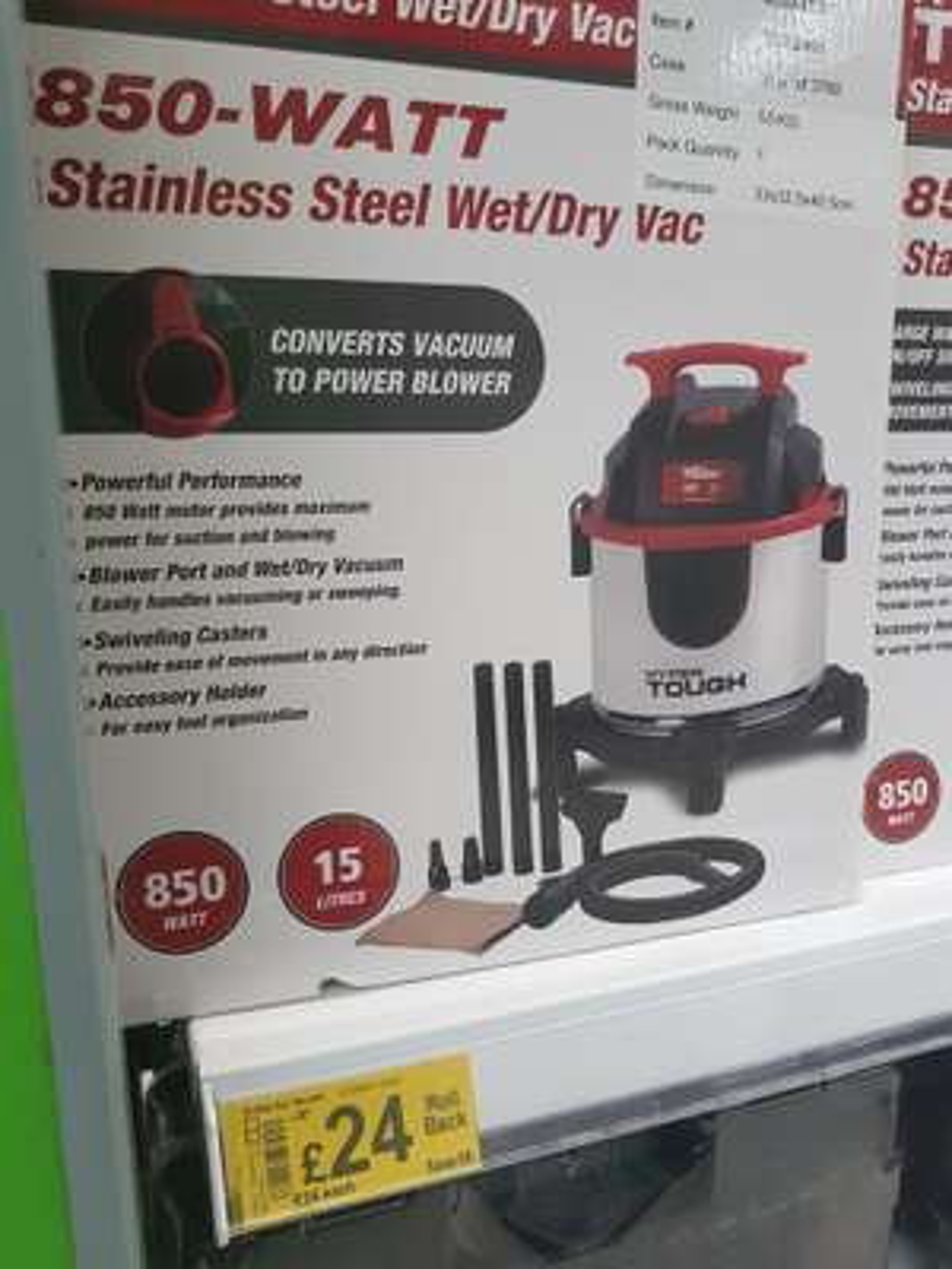 Hyper Tough 850-Watt Stainless Steel Wet / Dry Vac £24 instore @ Asda