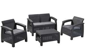 Keter Corfu Outdoor 4 Seater Rattan Sofa Furniture Set with Accent Table - Graphite with Grey Cushions for £194.69 Delivered @ Amazon UK