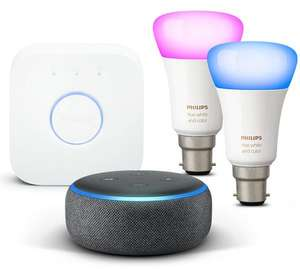 Philips Hue White & Colour Ambience Starter Kit (2 Colour Bulbs + Hub) B22 or E27 + Amazon Echo Dot 3rd Gen £89.99 Online & InStore @ Currys