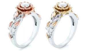 One or Two Rose Rings with Crystals from Swarovski® - £6.98 +£1.99 delivery @ Groupon
