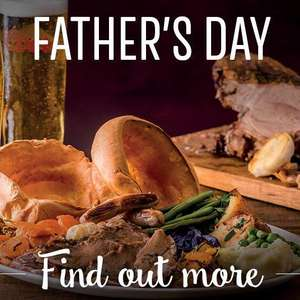 FREE  Toby Carvery main meal for Dad on Father's Day @ Toby Carvery with app (With Purchase of a Full Priced Meal)