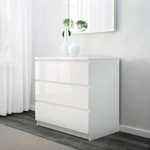 MALM Chest of 3 Drawers in High Gloss White £49 / 4 Drawers £59 @ Ikea - Family Member Price