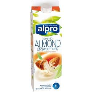 Alpro Chilled Coconut & Almond Drink 1L / Alpro Roasted Almond Unsweetened 1L / Alpro Soya Wholebean Unsweetened 1L now £1 at Asda