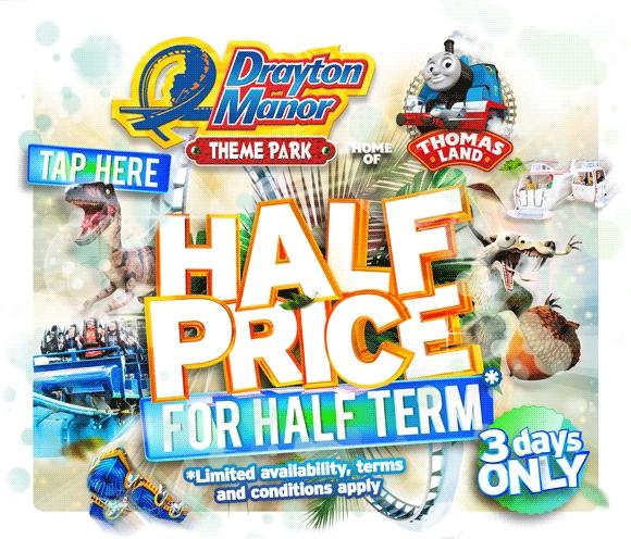 Drayton Manor half price tickets - £19.50