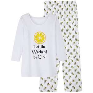 Pretty Secrets Let The Weekend Be Gin Ladies Pyjamas £4.95 delivered @ JD Williams